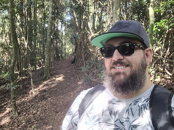 Man with a beard on a hike